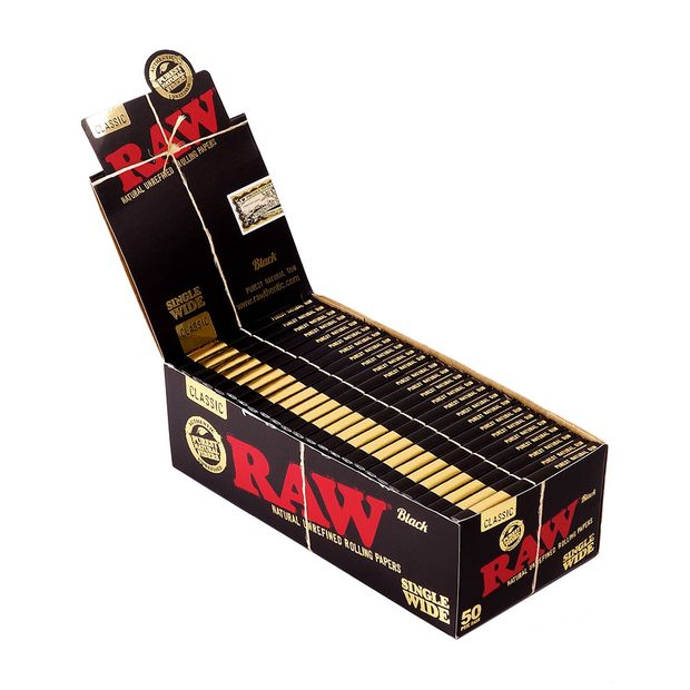 RAW Black Single Wide, Regular Papers, extra-fine, 50 short Leaves per Booklet