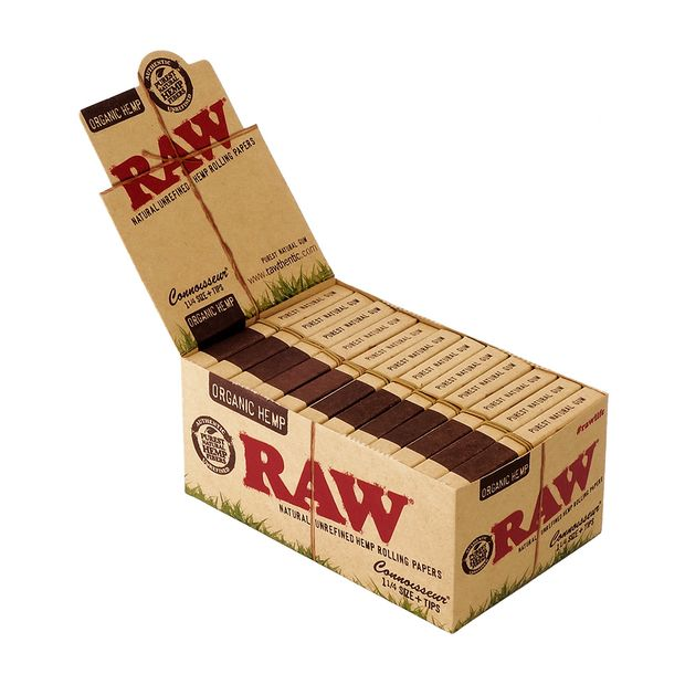 RAW Organic Hemp Connoisseur 1 ¼ Papers + Tips, 50...