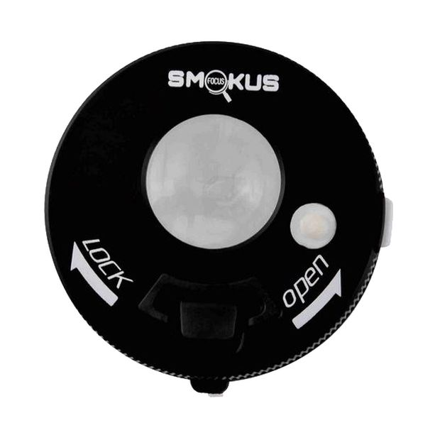 Smokus Focus Jetpack black, airtight storage jar, magnifying glass in the lid