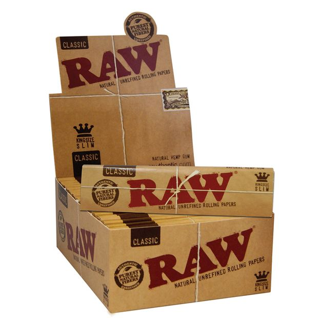 RAW King Size slim Premium Papers ungebleicht Blättchen 1...