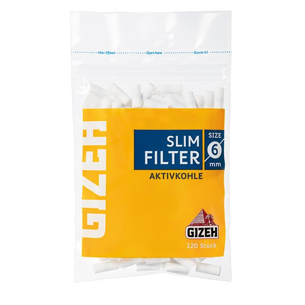 Gizeh slim active charcoal cigarette filter 6mm